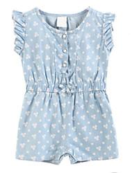 abordables -Robe Fille Coton Printemps Eté Manches Courtes Pois Bleu Bleu clair