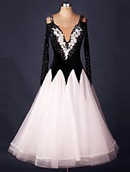 Ballroom Dance Dresses Women's Performance Organza Velvet Crystals/Rhinestones Flower(s) Splicing 1 Piece Long Sleeve Natural Dress