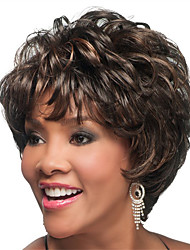 Short Bob Full Bang Curly Synthetic Wigs for Women Dark Brown Heat Resistant Cheap Hair