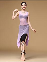 Belly Dance Outfits Women's Training Spandex Tulle Ruffles 3 Pieces Sleeveless High Dress Waist Belt Shorts