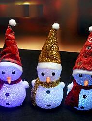 Недорогие -1pcs изменение цвета привело снеговика Рождественские украшения настроение лампа ночь свет Xmas дерево висит орнамент ramdon цвет