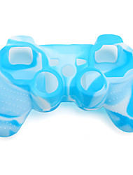 cheap -Protective Dual-Color Silicone Case for PS3 Controller (Blue and White)