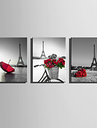 cheap -E-HOME Stretched Canvas Art A Touch Of Red Under The Tower Decoration Painting  Set Of 3