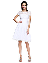 cheap -A-Line Fit & Flare Illusion Neckline Knee Length Lace Cocktail Party Prom Dress with Buttons Pleats by TS Couture®