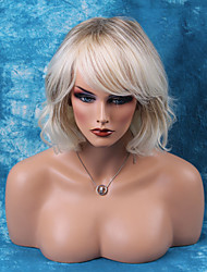 Elegant Mid-Length Capless Wigs Natural Wavy Human Hair Ombre Wigs