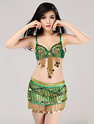 cheap -Belly Dance Outfits Women's Training Sequined Sequins 2 Pieces Sleeveless Natural Skirt Bra