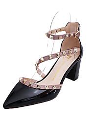cheap -Women's Sandals Fall Winter Comfort PU Casual Chunky Heel Block Heel White Black Blushing Pink