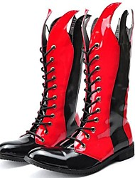 cheap -Men's Fashion Boots Patent Leather Spring / Fall / Winter Comfort / Motorcycle Boots Boots Black / Red / Party & Evening
