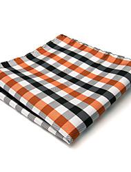 Mens Pocket Square White Black Orange Multicolor Checked 100% Silk New Business Fashion For Men
