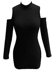 Moulante Robe Femme Soirée Sexy,Couleur Pleine Col Roulé Mini Manches Longues Noir / Gris Polyester / Spandex Eté Taille Haute Elastique