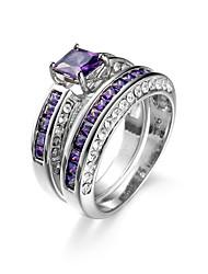 billige -Dame Kvadratisk Zirconium Ring - Zirkonium Mode 6 / 7 / 8 Lilla Til Bryllup / Daglig / Afslappet