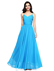 cheap -A-Line Spaghetti Straps Floor Length Chiffon Bridesmaid Dress with Ruched Criss Cross by LAN TING BRIDE®