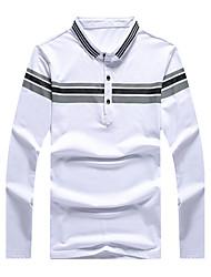 Bomull / Modal Blå / Hvit Medium Langermet,Skjortekrage Polo Ensfarget / Stripet Vår / Høst Enkel / Søt / GatemoteFritid/hverdag / Arbeid