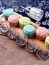cheap -7Pcs/lot Acrylic Hand Pressing 50g Round Moon Cake Mold Belt 6 Stamps Cookie Cutter Pastry Moon Cake Molds