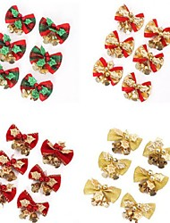 cheap -6Pcs/set Red Christmas Cute Bow Tree Hanging Decoration Xmas Bowknot Ornament Metal Bell Christmas 5*4Cm