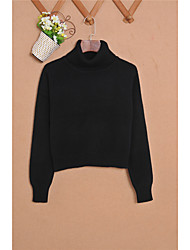 cheap -Women's Long Sleeves Cashmere Pullover - Solid Colored Turtleneck