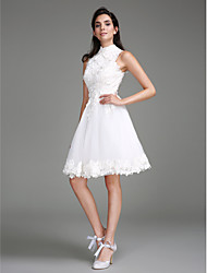 cheap -A-Line High Neck Knee Length Lace Made-To-Measure Wedding Dresses with Lace by LAN TING BRIDE® / Little White Dress