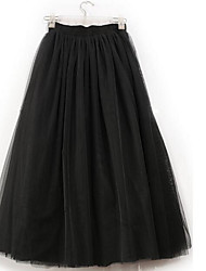 Women's Going out Midi Skirts,Cute A Line Tulle Solid Summer