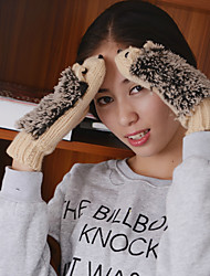 Women's The Hedgehog Knitwear Fingertips Wrist Length Cute Winter Gloves