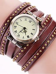 preiswerte -Damen Modeuhr Armbanduhr Armband-Uhr Quartz Punk Mehrfarbig Leder Band Vintage Glanz Punkt Böhmische Bettelarmband Armreif Cool Bequem