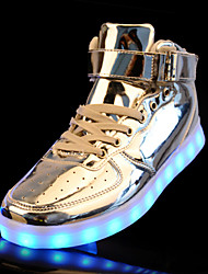 LED Light Up Shoes, Men's Sneakers Spring / Fall Comfort PU Casual Flat Heel Lace-up Silver / Gold Sneaker