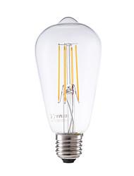 cheap -E26/E27 LED Filament Bulbs ST58 4 COB 600 lm Warm White 2700 K Dimmable Decorative AC 220-240 V