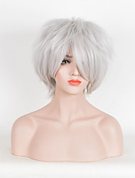 Hot Selling Women White Color Synthetic Wigs Short Curly Wig