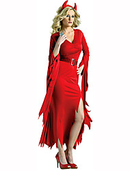 billige -Djævel Dame Festival / Højtider Halloween Kostumer Rød Ensfarvet