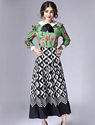 Feminino Conjunto Saia Suits Casual estilo antigo Inverno,Geométrica Verde Algodão / Poliéster Colarinho de Camisa Manga Longa Média