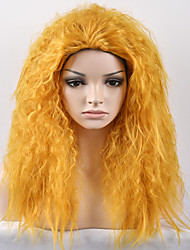 billige -Syntetiske parykker Afro / Kinky Curly Syntetisk hår Paryk Dame Medium Længde Lågløs Gul