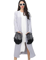 Women's Casual Autumn Attachable Natural Fur Pockets Long Cardigan Trench Coat Knitted Fashion Windbreaker