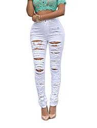 Da donna Skinny Jeans Pantaloni-Moda città Casual Tinta unita A vita alta Bottoni Poliestere Elastico Autunno / Inverno