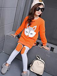 cheap -Girls' Daily Patchwork Clothing Set Winter Spring Fall Long Sleeve Cartoon Orange Pink