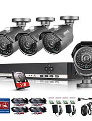 annke® 1.0 mp sistema de vigilância câmera de 8 canais de CCTV câmera de vídeo 720p sistema AHD DVR 4pcs com 1TB