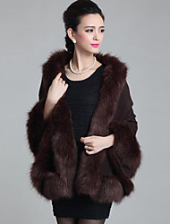 Damen Standard Mantel / Capes-Lässig/Alltäglich Retro Patchwork Rot Braun Gelb V-Ausschnitt Langarm Wolle Acryl Polyester Herbst Winter