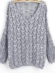 Standard Pullover Da donna-Sport Casual Tinta unita A V Manica lunga Cotone Autunno Medio spessore Elasticizzato
