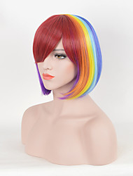 Rainbow Colorful Fashion Party Wig with Bang Bright Short  Straight Trendy Heat Resistant Synthetic Wigs for Women Capless Bobo Style High Quality