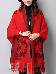 Women's Casual/Daily Street chic Long Cloak / Capes,Jacquard Red V Neck Long Sleeve Rayon Acrylic Fall Winter Medium Micro-elastic
