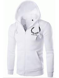 baratos -Masculino Jacket Hoodie Casual Simples Letra Bordado Algodão Micro-Elástica Manga Longa Outono Inverno