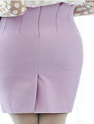preiswerte -Damen Retro Lässig/Alltäglich Knie-Länge Röcke Bodycon, Wolle Polyester Solide Winter Herbst