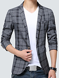 cheap -Men's Daily Work Simple Vintage Casual Spring Fall Blazer,Plaid Notch Lapel Long Sleeve Regular Cotton Acrylic Polyester