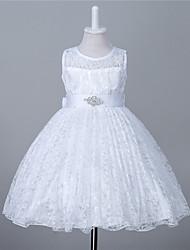 a-line abito ragazza fiore lunghezza ginocchio - merletto collo di gioiello senza maniche con cristallo da likestar