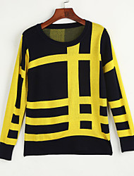 Casual/Daily Simple Street chic Regular Pullover,Print Blue White Black Yellow Round Neck Long Sleeve Polyester Spring Fall Medium