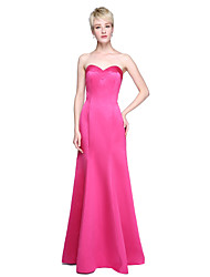 cheap -Mermaid / Trumpet Sweetheart Floor Length Satin Bridesmaid Dress with Pleats by LAN TING BRIDE®