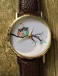 New School Student Watch Men Watch Owl Pattern Leather Watch Unisex Watch Women Watch