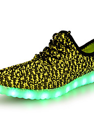 cheap -Unisex Athletic Shoes Spring Summer Fall Winter Comfort Novelty Light Up Shoes Tulle Outdoor Casual Athletic Flat Heel Lace-up LEDBlack