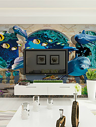 cheap -JAMMORY 3D Wallpaper Contemporary Wall Covering,Canvas Stereoscopic Large Mural  Marble Deep Sea Fish Landscape