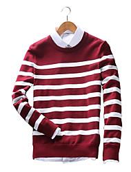Herren Standard Pullover-Lässig/Alltäglich Übergröße Einfach Street Schick Solide Gestreift Rot Schwarz Rundhalsausschnitt Langarm