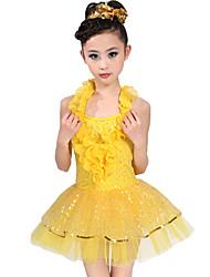 Budeme latinské taneční šaty dětské spandexové tylové volánky šaty