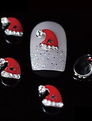 10pcs Beauty Xmas Red Santa Hat 3D Alloy Nail Design DIY Nail Art Decoration